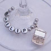 Laptop Personalised Wine Glass Charm